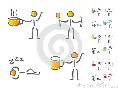 People lifestyle scribble icons
