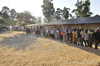 People in line waiting to cast their vote Editorial Photography
