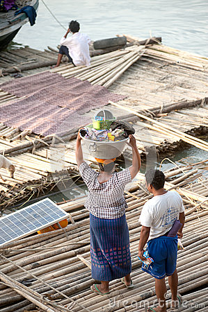 Free People Living Bamboo Raft. Royalty Free Stock Photos - 49937468