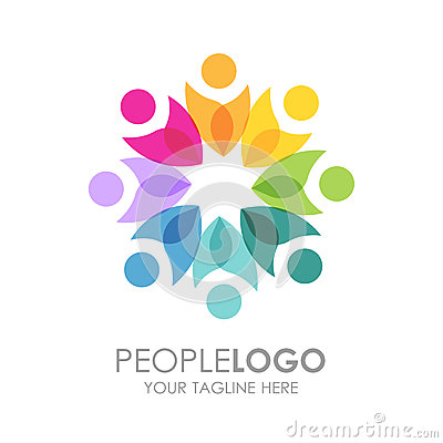 Free People Logo Design. Creative Abstract People Shapes  Logo. Royalty Free Stock Image - 82513616