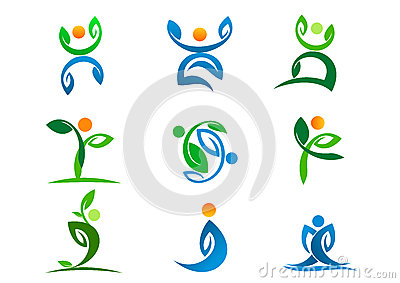 People logo, plant wellness, leaf yoga active and nature symbol design icon set Vector Illustration