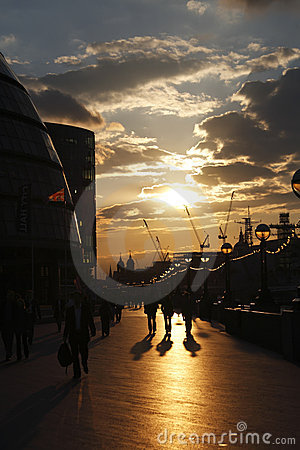 People london city sunset street lamps