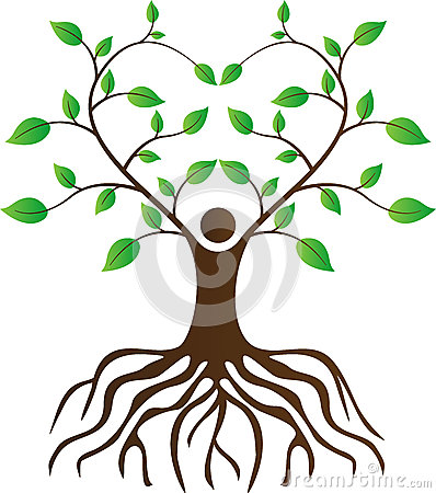 People love tree with roots Vector Illustration