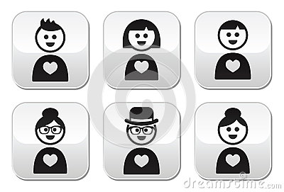 People in love, valentine s day buttons set