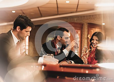 People in luxury interior