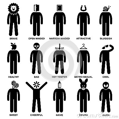People Man Characteristic Attitude Pictogram