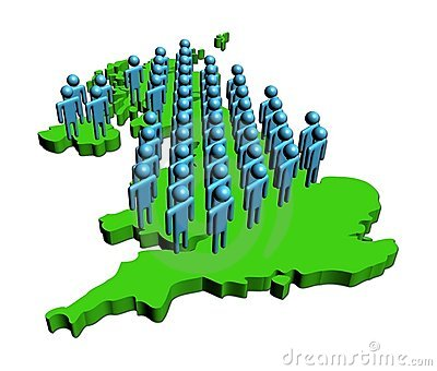 People on map of Britain