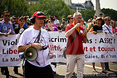 People marching during Gay Pride Paris 2010 Editorial Photo