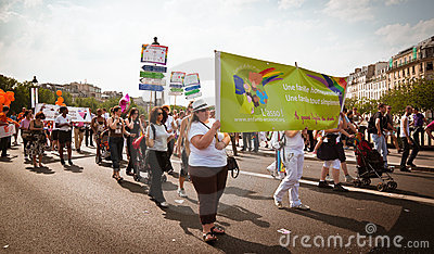 People marching during Gay Pride Paris 2010 Editorial Photography