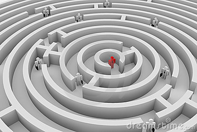 People into the maze. Search of solution. Team.
