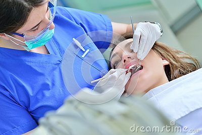 People, medicine, stomatology and health care concept Stock Photo