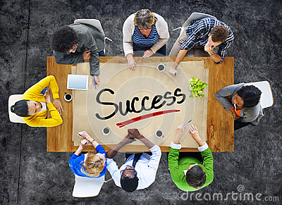 People in a Meeting and Single Word Success