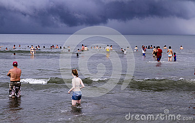 People at Mexican beach in the Pacific Ocean Editorial Image