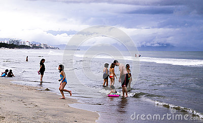 People at Mexican beach in the Pacific Ocean Editorial Stock Photo