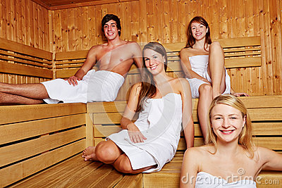 People in a mixed sauna