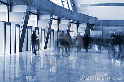 People in a modern architectural interior