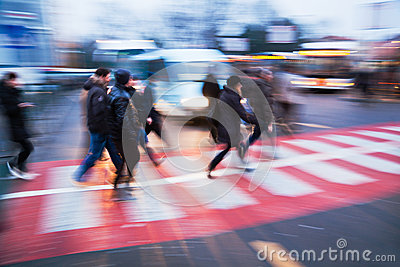 People on the move at a bus station