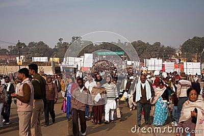 People movement on the Kumbh Mela Editorial Image