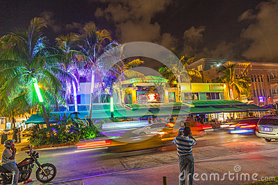 People by night on ocean drive Editorial Photography