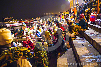 People in the night in Varanasi Editorial Photography