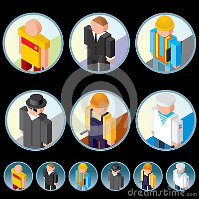 People Occupation Icons. Isometric Vector Graphics