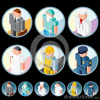 People Occupation Icons. Isometric Vector Images