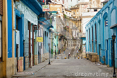 People in an old neighborhood in Havana Editorial Stock Photo
