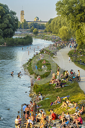 Free People On Isar River, Munich, Germany Stock Image - 74661921