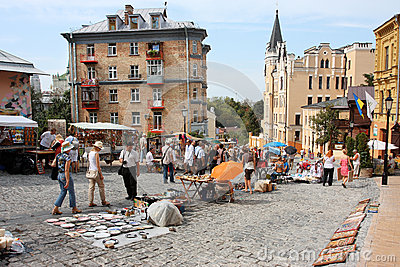 People on an open air flea market Editorial Image