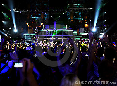 People in outdoor nightclub