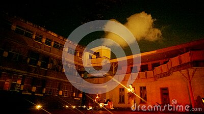 People Outside Building With Flashlights Free Public Domain Cc0 Image