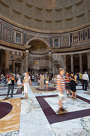 People in the Pantheon in Rome Editorial Photo