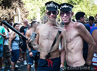 People participating at the Gay Pride parade in Madrid Editorial Image