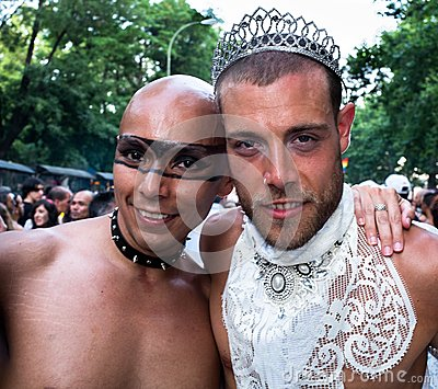 People participating at the Gay Pride parade in Madrid Editorial Stock Image