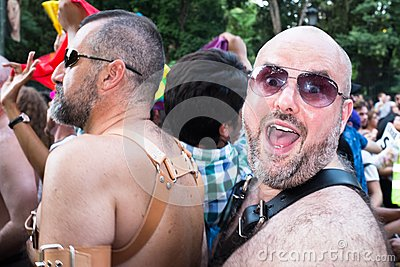 People participating at the Gay Pride parade in Madrid Editorial Photography