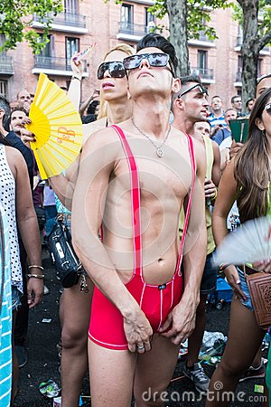 People participating at the Gay Pride parade in Madrid Editorial Photo