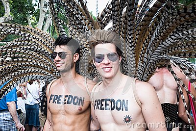 People participating at the Gay Pride parade in Madrid Editorial Stock Photo