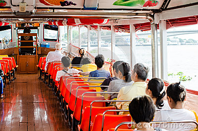 People in the passenger boat. Editorial Stock Photo