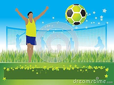 People play on football, summe