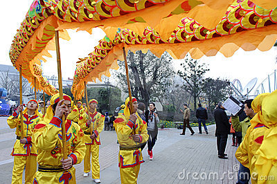 People playing dragon dance to celebrate festivals Editorial Stock Photo