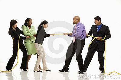 People playing tug of war