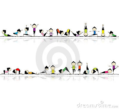 People practicing yoga, seamless background