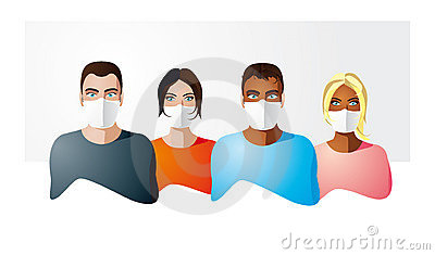 People in protection mask