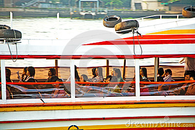 People in a public ferry on river Editorial Photography