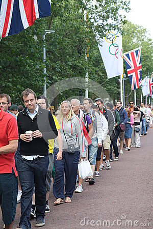 People queeing entering Olympics facilities Editorial Image