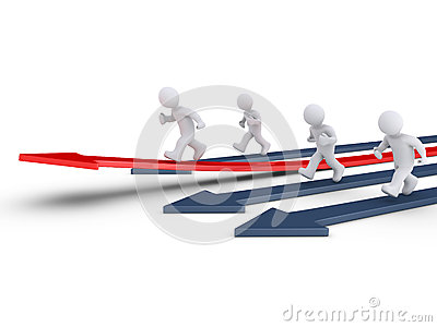 People race on arrows and one is rising