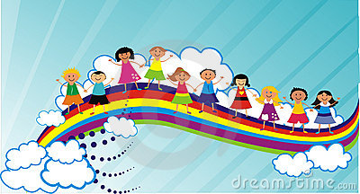People on a rainbow