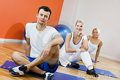 People relaxing after fitness