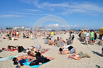People resting on the beach Editorial Stock Photo