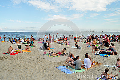 People resting on the beach Editorial Photography